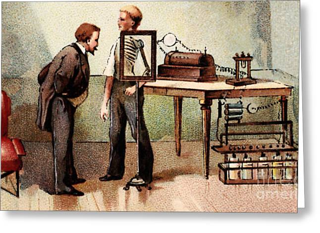 Roentgen Looking Into X-ray Screen Greeting Card