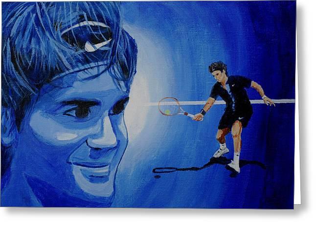 Roger Federer Greeting Cards - Roger Federer Greeting Card by Quwatha Valentine