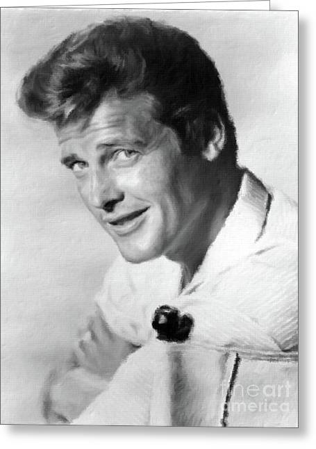 Roger Moore, Class Act Greeting Card by Mary Bassett