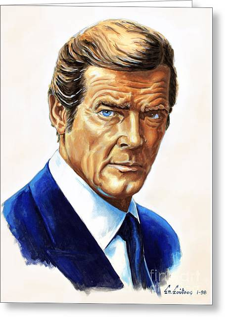 Roger Moore - James Bond Greeting Card by Spiros Soutsos