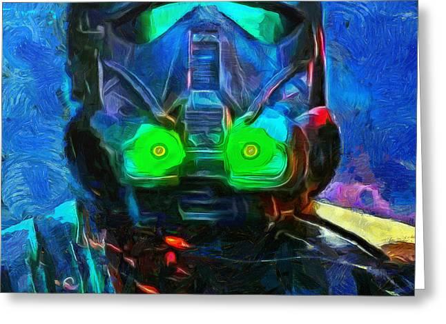 Rogue  One Fighter - Da Greeting Card by Leonardo Digenio