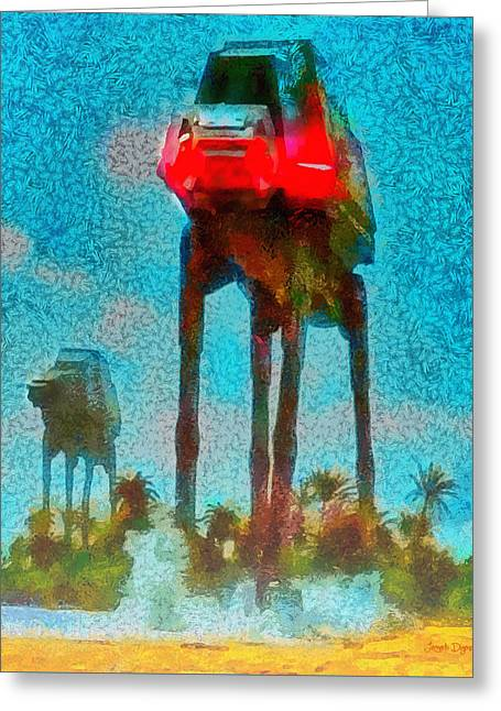 Rogue One Legged Tank - Da Greeting Card by Leonardo Digenio