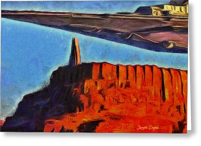Rogue One Over The Citadel - Da Greeting Card by Leonardo Digenio