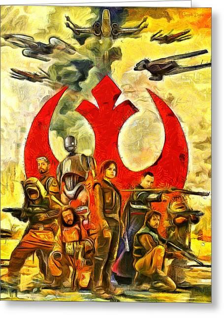 Rogue One Rebel Team - Da Greeting Card by Leonardo Digenio
