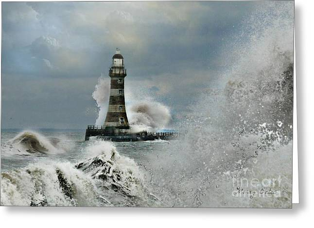 Roker Pier And Lighthouse Greeting Card