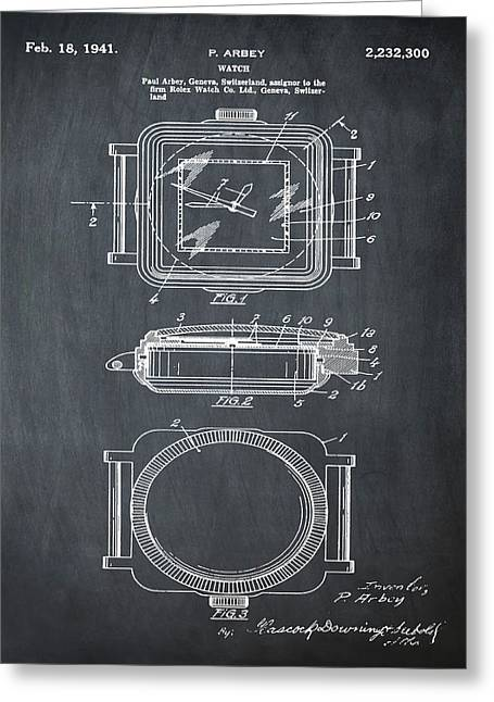 Rolex Watch Patent 1941 In Chalk Greeting Card