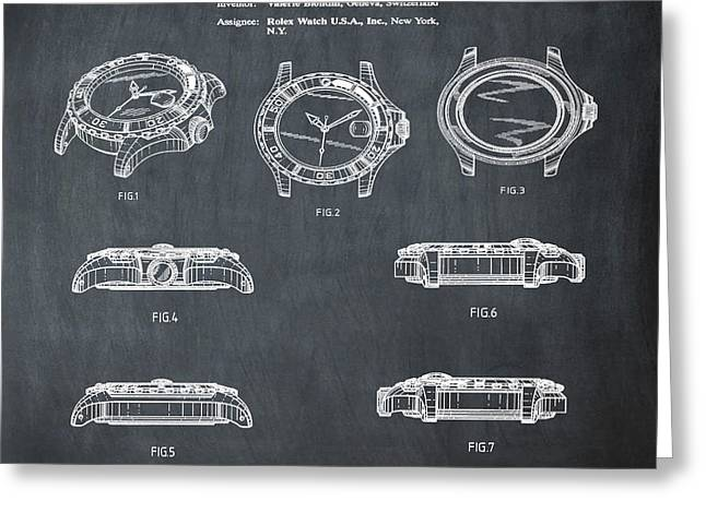 Rolex Watch Patent 1999 In Chalk Greeting Card