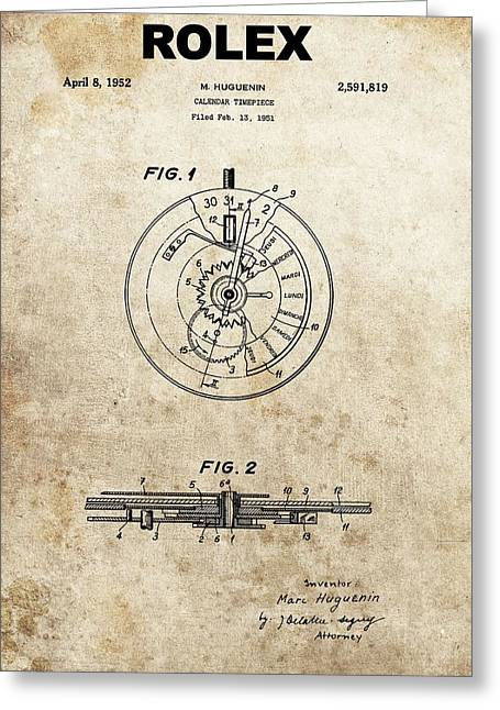Rolex Watch Patent Greeting Card by Dan Sproul