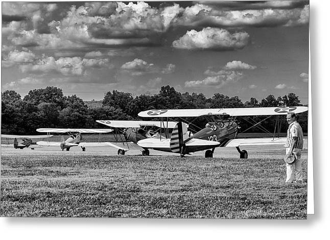 Greeting Card featuring the photograph Roll Out  For Take Off by Alan Raasch