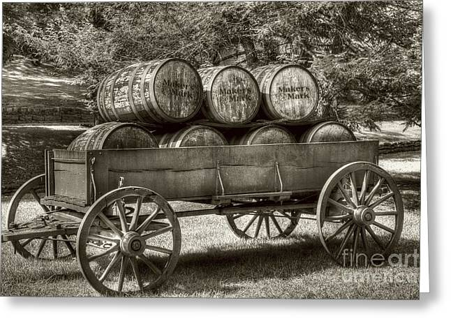 Roll Out The Barrels Sepia Tone Greeting Card by Mel Steinhauer