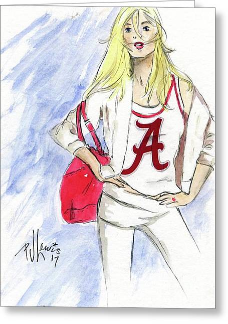 Greeting Card featuring the painting Roll Tide by P J Lewis
