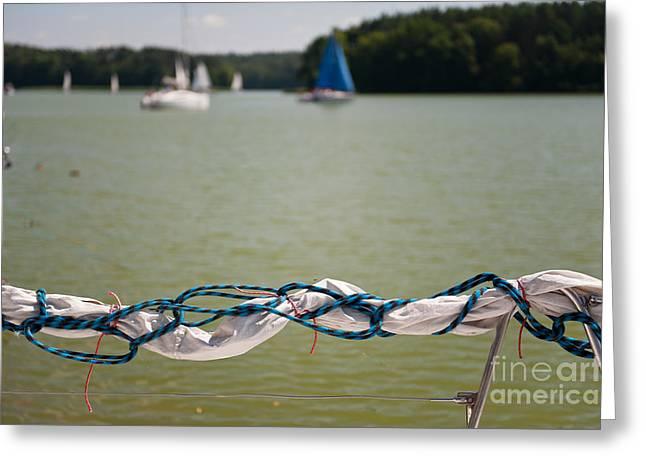 Rolled Up Mast Sail Material Greeting Card by Arletta Cwalina