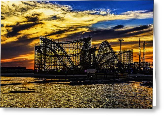 Roller Coaster Sunset Greeting Card