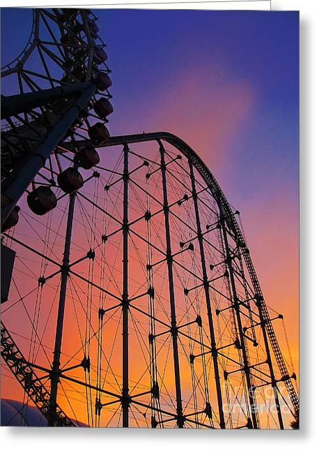 Roller Coaster At Sunset Greeting Card