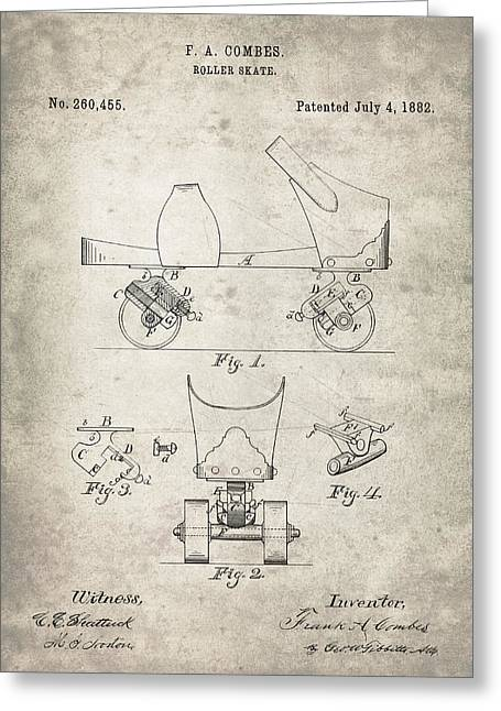 Roller Skate Patent - Patent Drawing For The 1882 F. A. Combes Roller Skate Greeting Card by Jose Elias - Sofia Pereira
