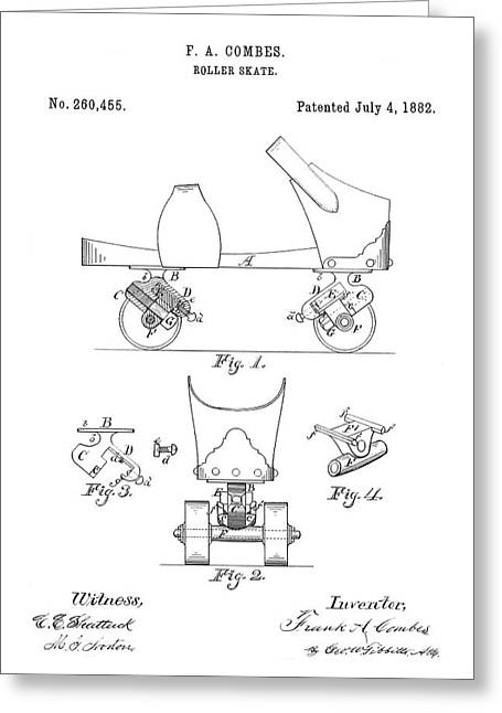 Roller Skate Patent - Restored Patent Drawing For The 1882 F. A. Combes Roller Skate Greeting Card by Jose Elias - Sofia Pereira