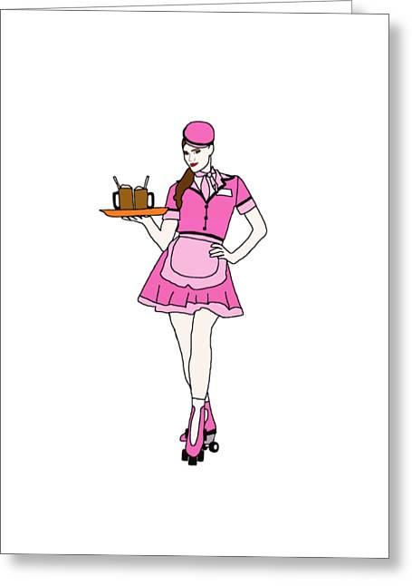 Roller Skate Waitress Greeting Card by Priscilla Wolfe