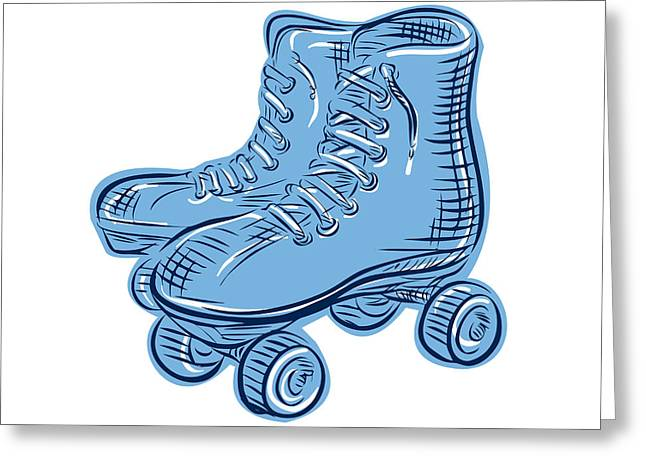 Roller Skates Vintage Etching Greeting Card