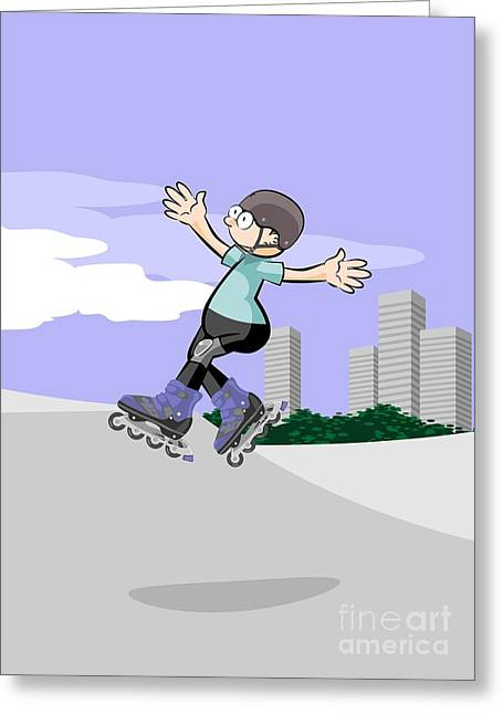 Rollerblader Kid Jumping In The Skate Park Greeting Card