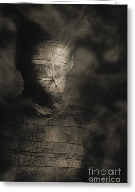 Rollie The Smoking Mummy Greeting Card by Jorgo Photography - Wall Art Gallery