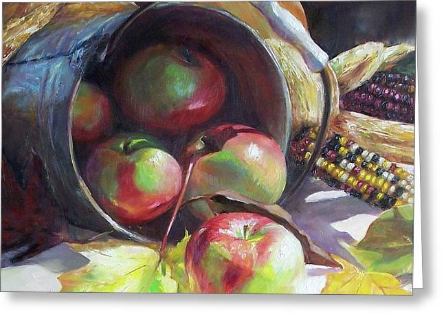 Rolling Apples Greeting Card by Donna Munsch