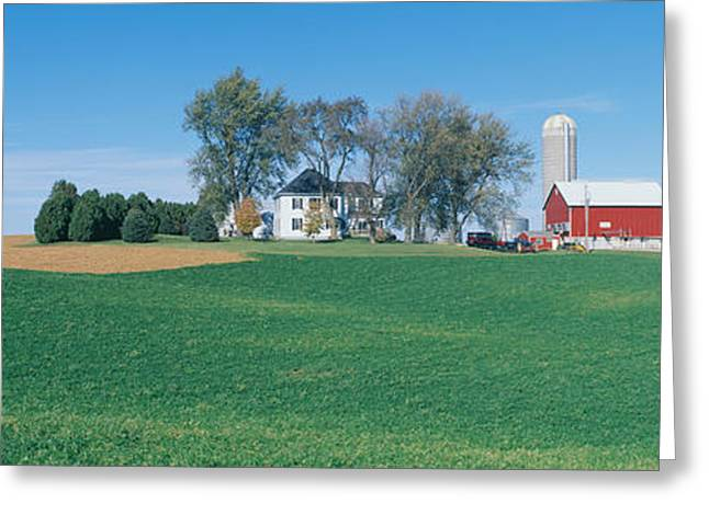 Rolling Farm Fields, Great River Road Greeting Card by Panoramic Images