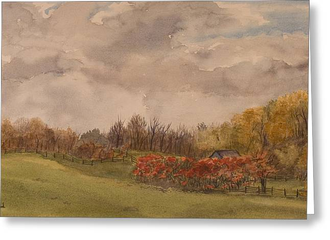 Rolling Fields In The Fall Greeting Card by Debbie Homewood