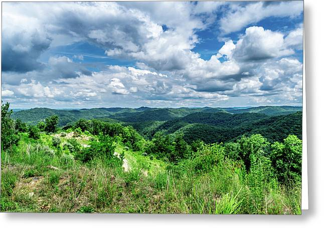 Rolling Hills And Puffy Clouds Greeting Card