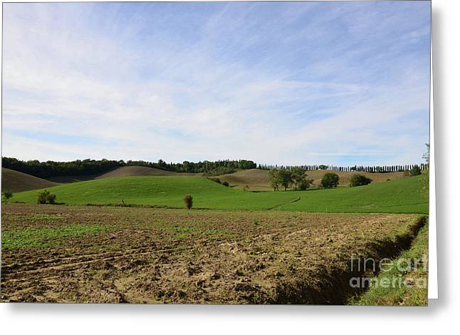 Rolling Hills And Tilled Fields In Italy Greeting Card by DejaVu Designs