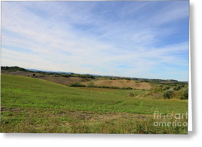 Rolling Hills Of Tuscany Italy Greeting Card by DejaVu Designs