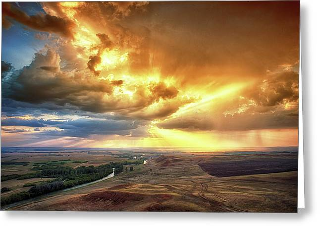 Rolling Rain Of Summer Sunset Greeting Card