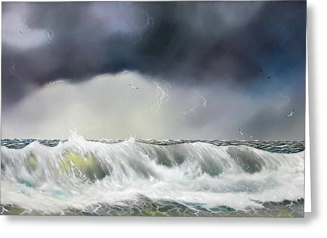 Rolling Sea Greeting Card by Don Griffiths