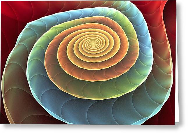 Greeting Card featuring the digital art Rolling Spiral by Anastasiya Malakhova