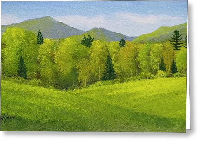Greeting Card featuring the painting Rolling Spring Pastures  by Frank Wilson