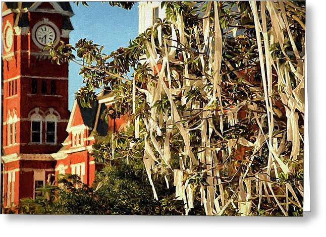 Rolling Toomer's Corner And Samford Hall Greeting Card