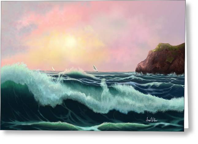 Greeting Card featuring the painting Rolling Waves by Sena Wilson