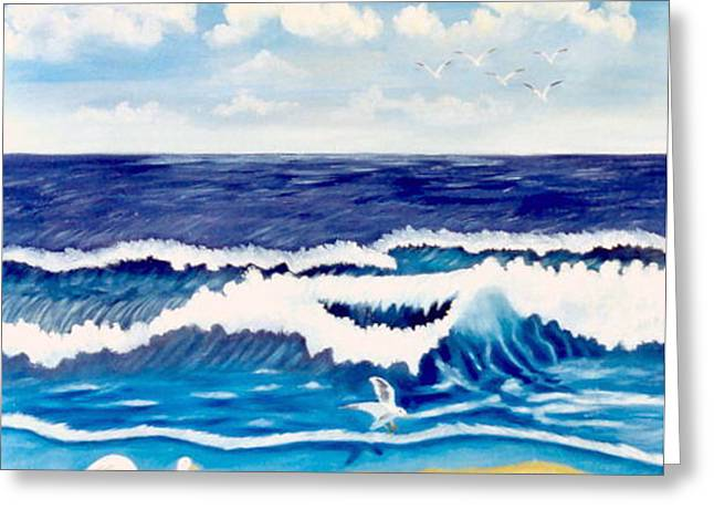 Rolling Waves Sold Greeting Card by Ruth  Housley