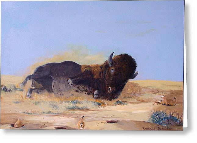 Roll'n On The Prairie Greeting Card by Raymond Schuster