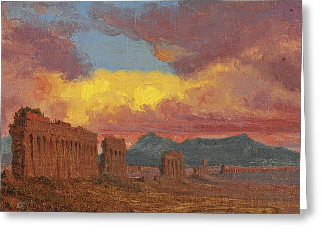Roman Aqueduct Greeting Card by Jervis McEntee