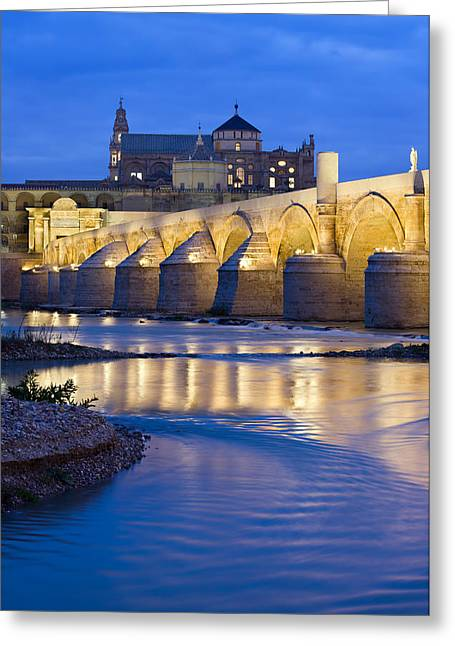 Roman Bridge On Guadalquivir River At Dawn Greeting Card
