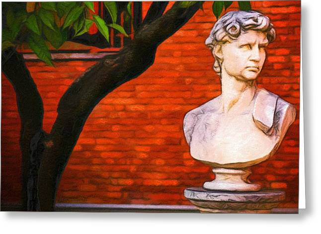 Roman Bust, Loyola University Chicago Greeting Card by Vincent Monozlay