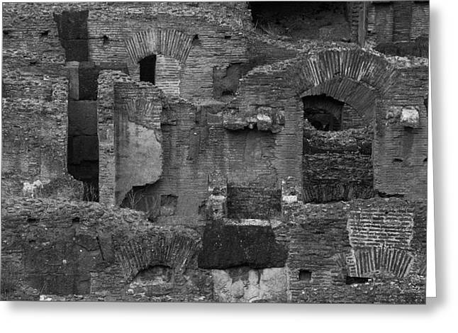 Greeting Card featuring the photograph Roman Colosseum Bw by Silvia Bruno