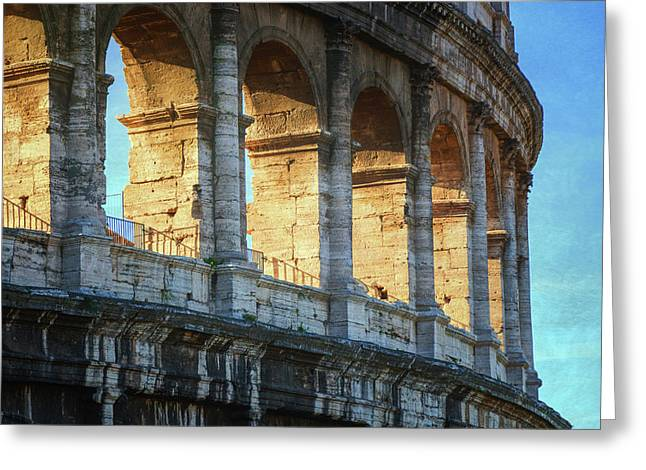 Roman Colosseum Painterly Greeting Card by Joan Carroll