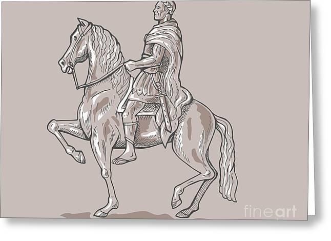 Roman Emperor Riding Horse Greeting Card by Aloysius Patrimonio