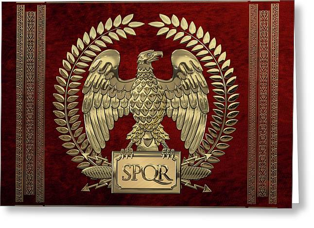 Roman Empire - Gold Imperial Eagle Over Red Velvet Greeting Card