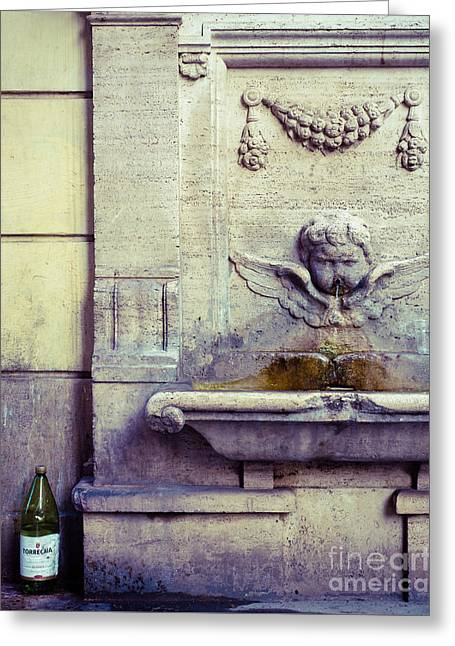 Roman Fountain Of Wine Greeting Card by Sonja Quintero