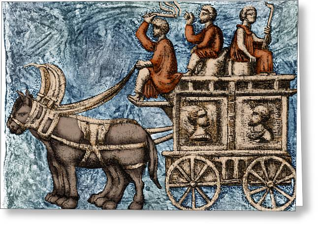 Roman Four-wheeled Traveling Wagon Greeting Card