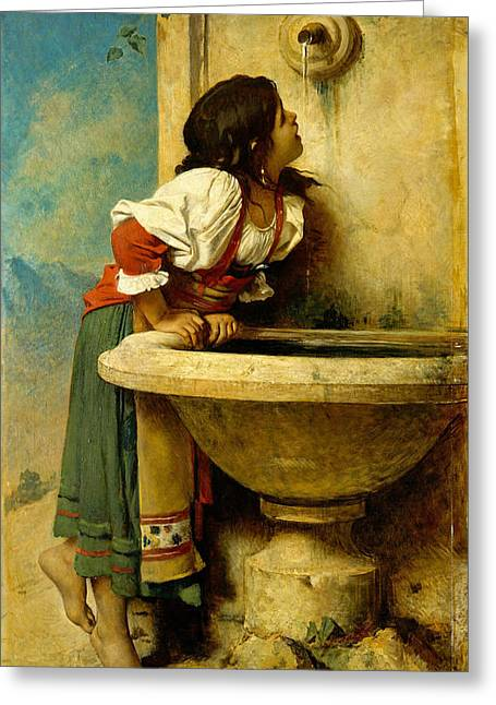 Roman Girl At A Fountain Greeting Card