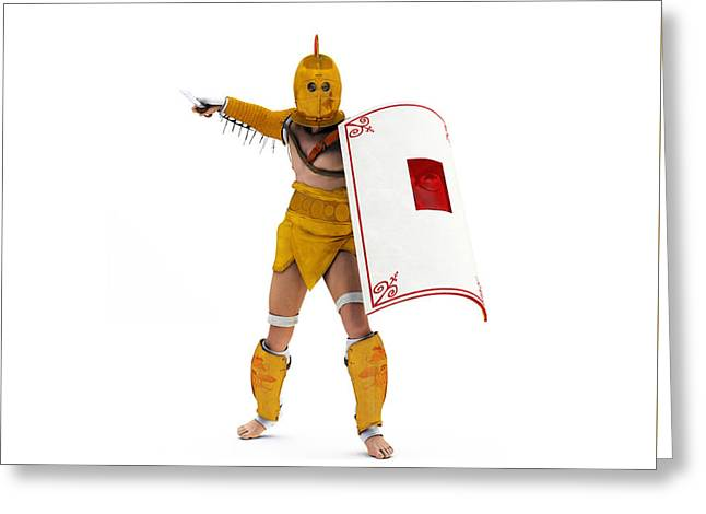 Roman Gladiator Secutor Greeting Card