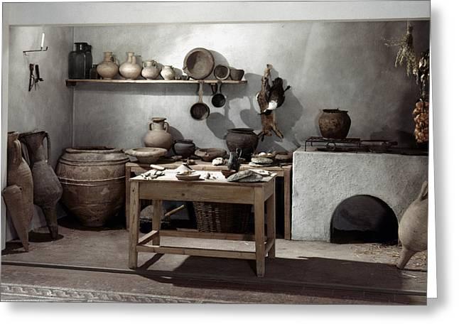 Roman Kitchen, 100 A.d Greeting Card by Granger